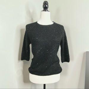Zara Knit Black 3/4 Sleeve Sweater w/ Glitter Bead
